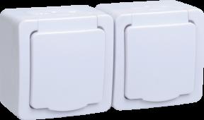 Розетка двойная ГЕРМЕС PLUS IEK с заземлением накладная IP54 белая, Розетки накладные