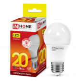 Лампа светодиодная LED-A60-VC 20Вт 230В Е27 3000К 1800Лм IN HOME, Лампа LED-A