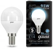 Лампа светодиодная LED-ШАР 9.5Вт E14 4100K 950Лм Black GAUSS, Лампы LED-ШАР