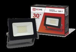 Прожектор светодиодный СДО-7 30Вт 230В 6500К IP65 черный IN HOME, прожекторы
