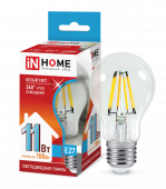 Лампа светодиодная LED-A60-deco 11Вт 230ВЕ27 4000К 990Лм прозрачная IN HOME, Лампы LED-A