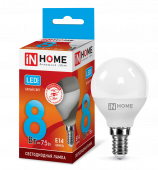 Лампа светодиодная LED-ШАР-VC 8Вт 230В Е14 4000К 720Лм IN HOME, Лампы LED-ШАР
