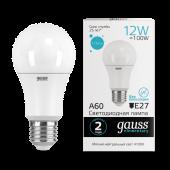 Лампа светодиодная LED-A60 12Вт E27 4100K 1150Лм Elementary GAUSS, Лампы LED-A