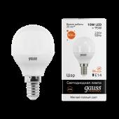 Лампа светодиодная LED-ШАР 10Вт E14 3000K 880Лм Elementary GAUSS, Лампы LED-ШАР