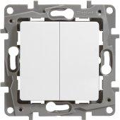 Выключатель двухклавишный ETIKA Legrand белый, Выключатели встраиваемые