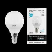 Лампа светодиодная LED-ШАР 10Вт E14 4100K 920Лм Elementary GAUSS, Лампы LED-ШАР