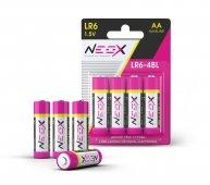 Батарейки АА алкалиновые LR6-4BL, блистер, 4 штуки в упаковке NEOX, Алкалиновые батарейки