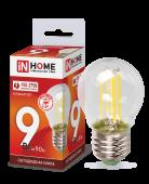 Лампа светодиодная LED-ШАР-deco 9Вт 230ВЕ27 6500К 810Лм прозрачная IN HOME, Лампы LED-ШАР