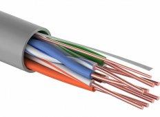 Кабель связи витая пара внутренний НЕ экранированный UTP 4PR 24AWG, CCA, CAT5e, PVC серый, бухта 305м PROconnect, кабель витая пара