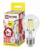 Лампа светодиодная LED-A60-deco 9Вт 230В Е27 3000К 810Лм прозрачная IN HOME, Лампы LED-A