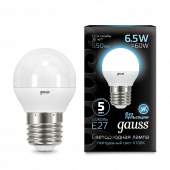 Лампа светодиодная LED-ШАР 6.5Вт E27 4100K 550Лм Black GAUSS, Лампы LED-ШАР