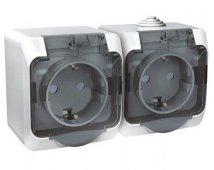 Розетка двойная ЭТЮД Schneider Electric накладная со шторками c крышкой полугерметичная с заземлением белая, Розетки накладные