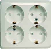 Розетка четырехместная ЭТЮД Schneider Electric накладная со шторками с заземлением белая, Розетки накладные