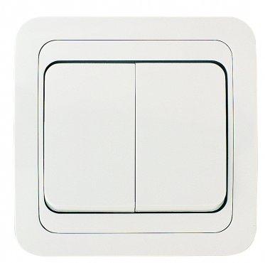 Выключатель двухклавишный МИМОЗА MAKEL белый, Выключатели встраиваемые
