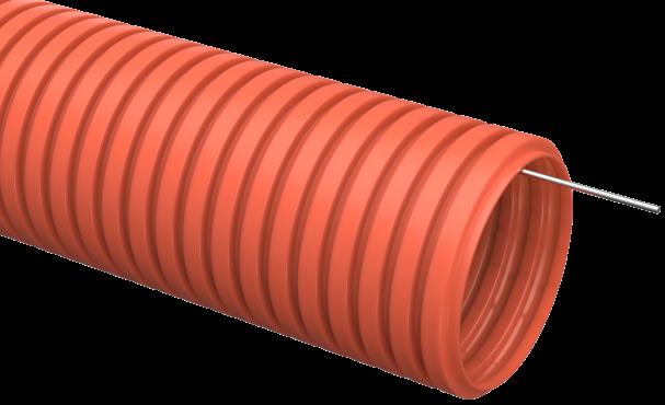 Труба IEK гофрированная ПНД 32 с зондом оранжевая, Труба гофрированная ПНД