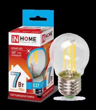 Лампа светодиодная LED-ШАР-deco 7Вт 230В Е27 4000К 630Лм прозрачная IN HOME