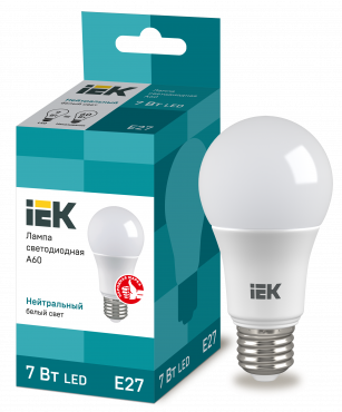 Лампа светодиодная LED-A60 ECO 7Вт 230В 4000К E27 IEK, Лампы LED-A
