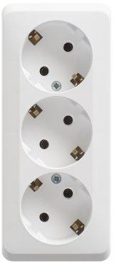 Розетка тройная ЭТЮД Schneider Electric накладная с заземлением белая, Розетки накладные