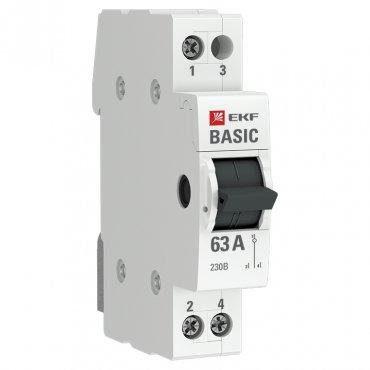 Трехпозиционный переключатель 1P 63А EKF Basic, Выключатели нагрузки