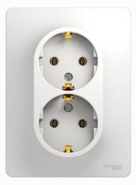 Розетка двойная GLOSSA Schneider Electric с заземлением белая, Розетки встраиваемые