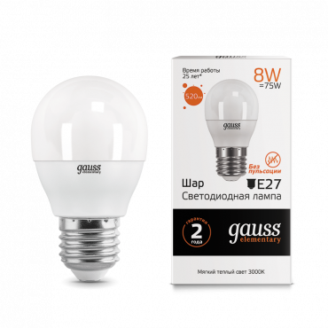 Лампа светодиодная LED-ШАР 8Вт E27 3000K 520Лм Elementary GAUSS