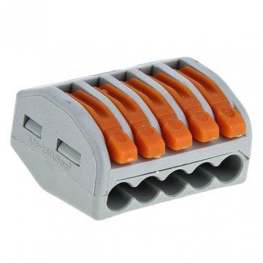 Строительно-монтажная клемма СМК 222-415 5х2,5 с рычажком EKF, Соединительные изолирующие зажимы