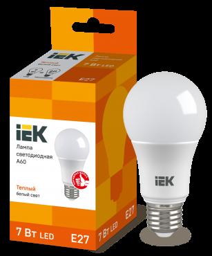 Лампа светодиодная LED-A60 ECO 7Вт 230В 3000К E27 IEK, Лампы LED-A