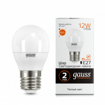 Лампа светодиодная LED-ШАР 12Вт E27 3000K 880Лм Elementary GAUSS