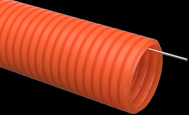 Труба IEK гофрированная ПНД 32 с зондом оранжевая тяжелая, Труба гофрированная ПНД