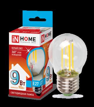 Лампа светодиодная LED-ШАР-deco 9Вт 230ВЕ27 4000К 810Лм прозрачная IN HOME