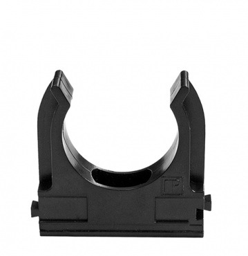 Крепеж-клипса для труб 25 мм черная, Крепления для труб