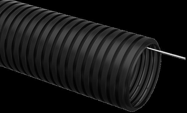 Труба IEK гофрированная ПНД 16 с зондом черная, Труба гофрированная ПНД
