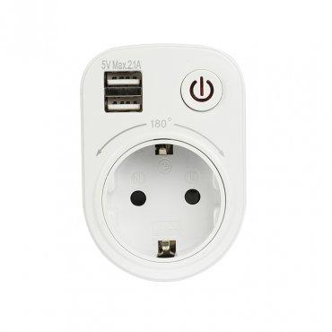 Розеточный блок SB-01 EKF PROxima (розетка 2P+E 16А, 2 USB разъема 5V 2,1A), Переходники и разветвители