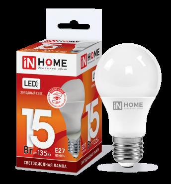 Лампа светодиодная LED-A60-VC 15Вт 230В Е27 6500К 1350Лм IN HOME, Лампы LED-A