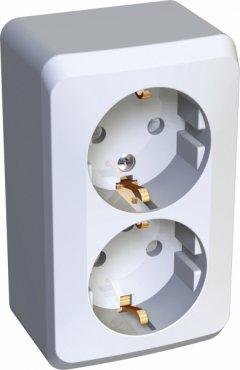 Розетка двойная ЭТЮД Schneider Electric накладная со шторками с заземлением белая, Розетки накладные