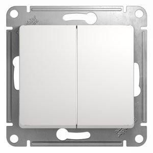 Выключатель двухклавишный GLOSSA Schneider Electric белый, Выключатели встраиваемые