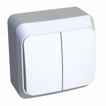 Выключатель двухклавишный ЭТЮД Schneider Electric накладной с подсветкой белый