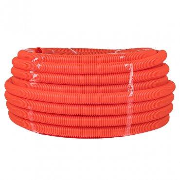 Труба ПНД гибкая гофр. д.40мм, тяжёлая с протяжкой, цвет оранжевый EKF, Труба гофрированная ПНД