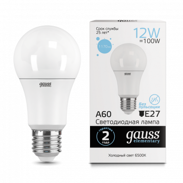 Лампа светодиодная LED-A60 12Вт E27 6500K 1170Лм Elementary GAUSS
