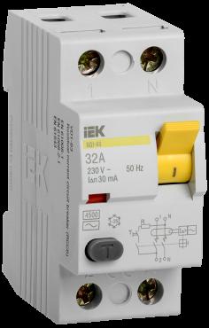 Устройство защитного отключения ВД1-63 2Р 32А 30мА IEK, Устройства защитного отключения