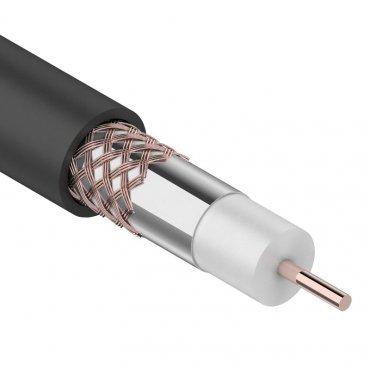 Кабель коаксиальный внешний RG-6U+Cu, 75 Ом, Cu/Al/Cu, 64%, бухта 100м, черный, REXANT (OUTDOOR), Телевизионный кабель
