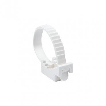 Крепеж ремешковый d=22 мм белый (100 шт.) EKF PROxima, Крепления для труб