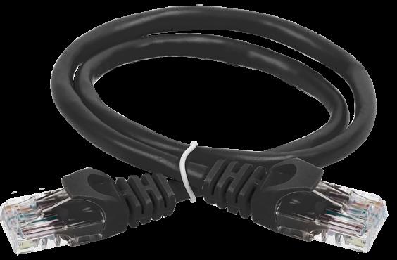 ITK Коммутационный шнур (патч-корд), кат. 5Е UTP LSZH 0,5м чёрный, кабель витая пара