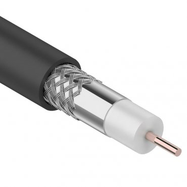 Кабель коаксиальный внешний RG-6U, 75 Ом, CCS/Al/Al, 64%, бухта 100м, черный, REXANT (OUTDOOR), Телевизионный кабель
