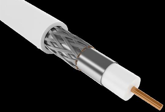 Кабель коаксиальный внутренний RG-6, 750 Ом, CCS/FPE/PVC, бухта 300м, белый, GENERICA, Телевизионный кабель