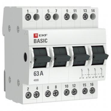 Трехпозиционный переключатель 4P 63А EKF Basic, Выключатели нагрузки