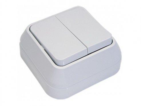 Выключатель двухклавишный MAKEL накладной белый, Выключатели накладные