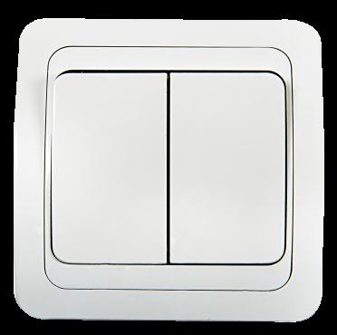 Выключатель двухклавишный CLASSICO белый 2023 IN HOME, Выключатели встраиваемые