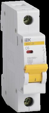Автоматический выключатель IEK ВА47-29 1P 6А 4,5кА характеристика С, Автоматические выключатели модульные