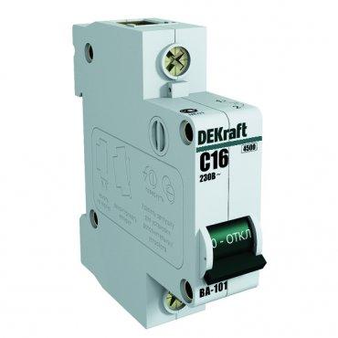 Автоматический выключатель DEKraft ВА-101 1P 16А 4,5кА характеристика С, Автоматические выключатели модульные